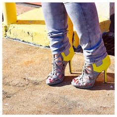 """S O L D Faux suede and fabulous, these are the epitome of scenestealers. Warm Grey is jazzed up with effervescent Chartreuse and looking sassy. It's feminine with attitude. Heels are around 4.5"""" high. Supremely comfy and worn only once for this shoot. Shoe Dazzle Shoes Heels"""