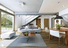 ATRAKCYJNY 3A - nowoczesny dom z poddaszem użytkowym - Średni salon z jadalnią z tarasem / balkonem, styl minimalistyczny - zdjęcie od DOMY Z WIZJĄ - nowoczesne projekty domów