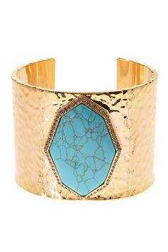 Image of Louise et Cie Jewelry Cabochon Stone Halo Set Crystal Hammered Finish Cuff