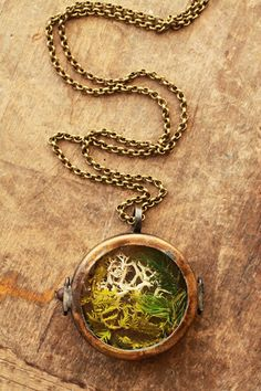 Real moss necklace floating locket living by RubyRobinBoutique