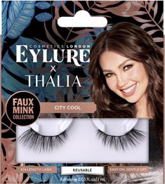 Eylure X Thalia Lashes - City Cool is a delicate, super-sweet length faux mink lash with a luxurious kick out at the corner. Super-easy to apply & gentle to remove, each pack includes a set of reusable falsies and glue. Thalia, How To Draw Eyelashes, Falsies, Face Skin Care, Makeup Tips, Makeup Products, Beauty Products, Eye Makeup, Good Skin