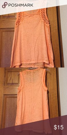 Orange burnout tank Orange loose fitting burnout tank with open knot design on front shoulders. Only worn once! Maurices Tops Tank Tops
