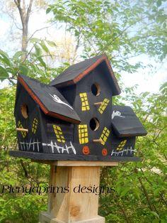 Birdhouse 4 nest. Halloween collectors theme, folk art bird house