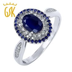 gemstoneking 1.60 ct oval blue natural sapphire ring 925 sterling silver women vintage rings