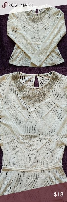 Venus Dressy Top Venus Off White Blingy Dress Top a little of a peplum look super cute! Perfect for the holidays! Itchy tag was removed , size S VENUS Tops