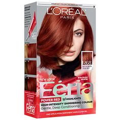 L'Oréal Paris Feria Hair Color with Highlights Red Copper Hair Color, Blue Black Hair Color, Bold Hair Color, Hair Colors, Box Hair Dye, Dyed Hair, Feria Hair Color, Brown To Blonde Balayage, Edgy Hair