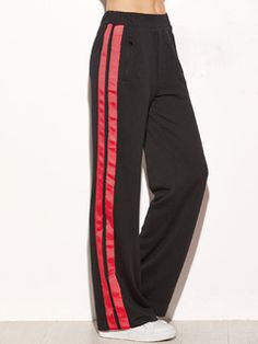 Side Striped Zip Pocket Wide Leg Pants BLACK
