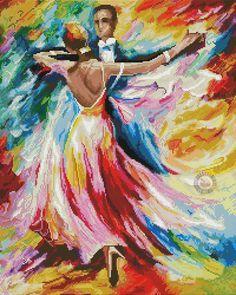 Diamond Painting Dance of Colours - Wizardi online kopen Needlepoint Patterns, Embroidery Patterns, Hand Embroidery, Rainbow Dance, Pattern Pictures, Counted Cross Stitch Patterns, Digital Pattern, Romance, Canvas
