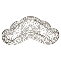 "TIFFANY & CO. BELLE EPOQUE DIAMOND HAIR ORNAMENT - Delicate diamond and platinum lace openwork in the form of a tiara, marked Tiffany & Co. on hinged double hairpin back. 3 7/8"" x 2"". 18.1 dwt."