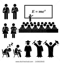 Illustration of Student Lecturer Teacher School College University Graduate Graduation Stick Figure Pictogram Icon vector art, clipart and stock vectors. Classroom Training, E Mc2, College Years, School Events, Stick Figures, Stock Foto, High School Students, Free Vector Art, Stock Pictures