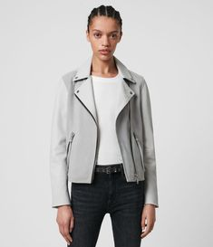 Summer Jackets and Style Leather Blazer, Grey Leather Jacket, Leather Jackets, Allsaints Looks, Summer Jacket, Celebrity Outfits, Fur Jacket, Jackets For Women, Cloud