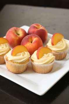 Peach Cupcakes with Peach Cream Cheese Frosting.