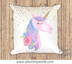Unicorn Pillow, Unicorn Nursery Decor, Unicorn Cushion, Unicorn Gift, Unicorn Pillow Case, Unicorn Cushion Cover, Pink Unicorn Head Pillow,