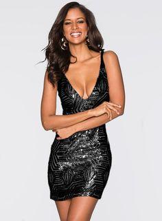 Black Spaghetti Strap V Neck Bodycon Night Club Dress