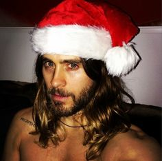 Jared Leto with Santa hat #Christmas #shirtless