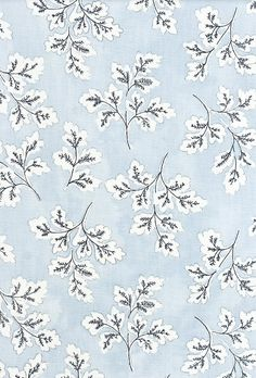 Meadow Leaf Cotton Curtain Fabric Powder blue cotton fabric with white and dark blue leaf print. Suitable for soft furnishings, curtains and upholstery.