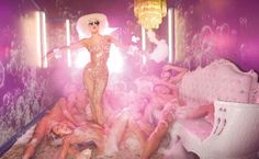 Lady Gaga Pink Room by David LaChapelle. LaChapelle and Lady Gaga, two of the most surreal artist alive combine in this surrealist, colorful, photoshoot. David Lachapelle, Connecticut, Yolandi Visser, Pink Room, Studio Portraits, Andy Warhol, Rolling Stones, Photoshop, Celebrities