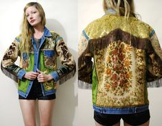 Tapestry Jacket 70s Vintage Renewed Denim Jean jacket Patch Jacket Fringe Velvet Patched Embroidered Dragon HANDMADE Carpet Jacket 1970s S