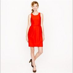 Price Cut ✂️ J.Crew Wool Blend Orange Dress J.Crew Allie Dress in a great orange/red color. Size 12. Great for either day or night and will get you through all of the seasons. Fully lined and has pockets. In a wool and silk blend. No trades, reasonable offers are welcome! J. Crew Dresses Mini