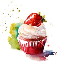 Hand painted watercolor strawberry muffin vector cupcake by kamenuka on VectorStock® Cupcake Painting, Cupcake Drawing, Cupcake Art, Food Painting, Watercolor Cake, Watercolor Illustration, Watercolor Paintings, Watercolors, Pintura Cupcake