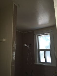 The washroom ceiling is probably the most stained ceiling in the house from dampness and humidity from the shower. It needs to be cleaned with special cleaner and the repeated with a kitchen bathroom paint.