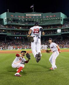 Mookie Betts, Andrew Benintendi, & Jackie Bradley 2017 Action Photo Print x Red Sox Baseball, Boston Baseball, Boston Bruins, Baseball Players, Baseball Stuff, Baseball Cards, Red Sox Hat, Andrew Benintendi, Mookie Betts