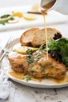 Honey Lemon Chicken - Golden brown chicken breast with a gorgeous honey lemon sauce. Super fast to make, this is on the table in 15 minutes! 320 calories!