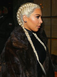 French Braid Lookbook: Kim Kardashian wearing French Braid (1 of 10). Kim Kardashian showed off her newly blonde locks, styled in a double French braid, while out and about in New York City.