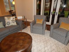 Bon From Ethan Allen · The Hasting Sofa And Turner Swivel Chairs Sitting Next  To The Highland End Table. With