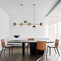 Zmh Led Pendant Light Dining Table Modern Dimmable Height Adjustable Pendant Lamp With 6 Bulb Esszimmer Kronleuchter Esstisch Beleuchtung Esszimmer Beleuchtung