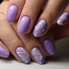 Nail art Christmas - the festive spirit on the nails. Over 70 creative ideas and tutorials - My Nails Purple Nail Art, Purple Nail Designs, Nail Designs Spring, Purple Wedding Nails, Spring Design, Violet Nails, Pink Nails, Gel Nails, Purple Manicure