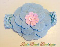 Infant Toddler Girls Light Blue Flower Crochet Headband Hairpiece Hairbow Hair Accessories on Etsy, $7.00