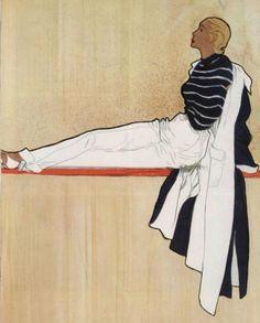 1949  Contraste Christian Dior couvre un ensemble de plage d'un grand manteau en toile marine doublé de toile blanche.
