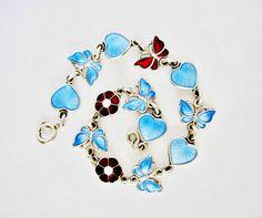 """Sterling Silver Blue / Red / White Guilloche Enamel Butterfly, Heart, """"Forget Me Not"""" Flower Bracelet -  Volmer Bahner, Denmark, Full Size"""