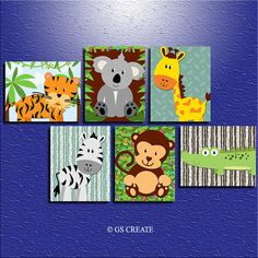 BABY BOY ANIMAL Wall Art Jungle Safari wall art Baby by GScreate