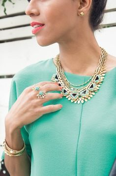 Veda Split Ring by Stella & Dot. Available July 21st using the link in my profile to shop! Make a fun and flirty impression with this double-detail cocktail ring. Sparkle and vintage gold fan around beautiful jade green stones.