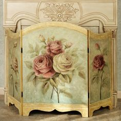 """Rose Delight Decorative Fireplace Screen $129, Decorative use only. Center is 23.5""""W; side panels are each 11.5""""W. Overall, 34.5""""H; weighs 10 lbs., handpainted wood."""