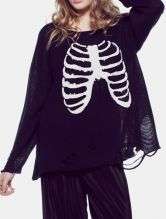 Black Sparkly Skeleton Long Sleeve Hole Loose Sweater 0.00