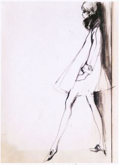 Bobby Hillson, Original illustration of the Paris collections for The Observer, 1965, pencil on paper