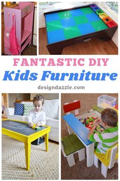 DIY Kids Furniture ideas that are cute and easy! Help your kid's playroom or bedroom look amazing! Wooden Crate Furniture, Kids Bedroom Furniture, Diy Furniture Projects, Handmade Furniture, Fun Projects, Furniture Design, Furniture Stores, Furniture Cleaning, Furniture Movers