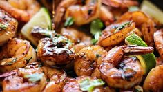 Cilantro lime honey garlic shrimp skillet is smoky, sweet, zesty and savory. In short, this 30 minute meal is quick and easy without skimping on the flavor. Shrimp Recipes, Fish Recipes, Shrimp Meals, Veggie Recipes, Recipies, Sin Gluten, Gluten Free, Skillet Shrimp, Honey And Soy Sauce