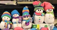 sock snowmen Snowman Party, Sock Snowman, Diy Snowman, Snowman Ornaments, Snowmen, Christmas Ornaments, Holiday Decorations, Holiday Crafts, Christmas Time