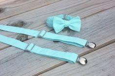 Light Aqua Blue Bow Tie and Suspender set  Men by CottonKandyShop, $22.00