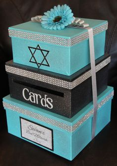 Custom Card Box, Bat Mitzvah, 3 Tier, Card Holder, Square, Teal and Black, Glitter and Sparkle