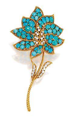 An 18 Karat Gold, Turquoise and Diamond Flower Brooch, Van Cleef & Arpels, New York, 1970