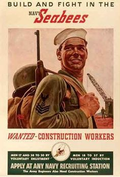 """United States Naval Construction Battalions, better known as Seabees, a heterograph of the first initials """"C."""", comprise US Naval Construction Forces (NCF). Navy Military, Military Art, Military History, Military Humor, Military Service, Military Retirement, Naval History, Military Photos, Military Life"""