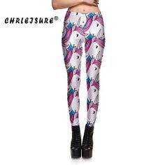 CHRLEISURE S-XL Unicorn Leggings 3D Print Animal Pants Fashion Women Trousers Elastic High Quality Anime Fitness Leggings