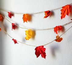 Fall Leaves Garland or Banner. $17.50, via Etsy....I will never pay for this when my kids can be amused with crafting for an hour!!