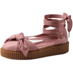 Fenty Puma By Rihanna Bow Leather Creeper Sandal (590 BRL) ❤ liked on Polyvore featuring shoes, sandals, ankle wrap sandals, leather platform sandals, puma creeper, ankle strap flats and leather d orsay flats