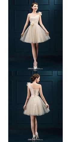 Short/Mini Tulle Bridesmaid Dress - Champagne Sheath/Column One Shoulder #shortbridesmaiddress